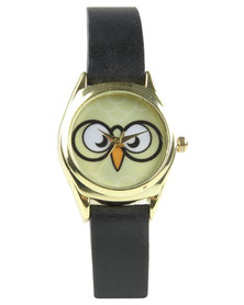 Rings & Things Owl Watch Black