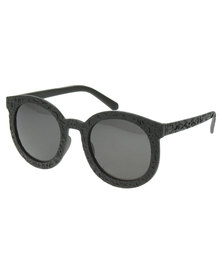 Rings & Things Textured Round Sunglasses Black