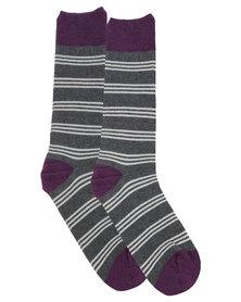 Robert Daniel Stripe Socks Purple