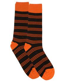 Robert Daniel Stripe Socks Orange