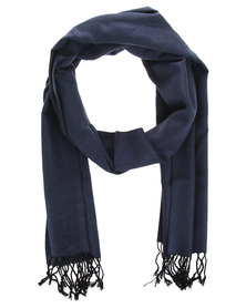 Robert Daniel Cashmere Feel Plain Scarf Navy
