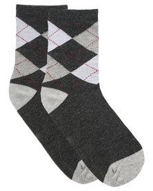 Robert Daniel Argyle Pattern Socks Grey