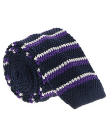 Robert Daniel Three Colour Stripe Knitted Tie Blue