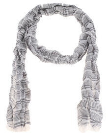 Robert Daniel Cotton Crinkle Variegated Stripe Scarf Grey