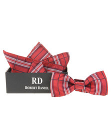 Robert Daniel Check Bow Tie with Handkerchief Red
