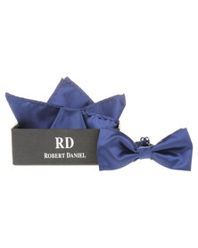 Robert Daniel Plain Bow Tie with Handkerchief Navy