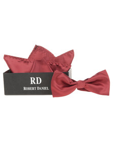 Robert Daniel Plain Bow Tie with Handkerchief Red