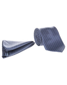 Robert Daniel Tonal Circle Tie with Handkerchief Blue