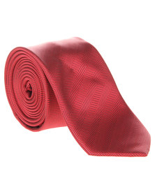 Robert Daniel Plain Skinny Tie Red