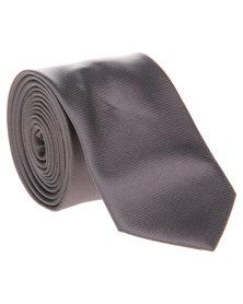 Robert Daniel Plain Skinny Tie Charcoal