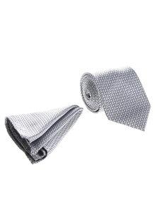 Robert Daniel Tonal Circle Tie Silver/Grey