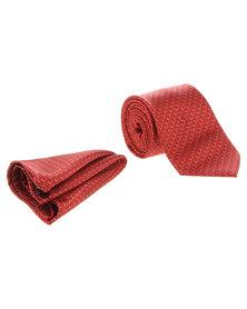 Robert Daniel Tonal Circle Tie with Handkerchief Red