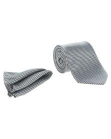 Robert Daniel Mono Geometric Tie with Handkerchief Black and White