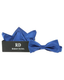 Robert Daniel Plain Bow Tie with Handkerchief Blue