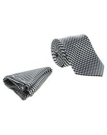 Robert Daniel Mono Geometric Tie with Handkerchief Black