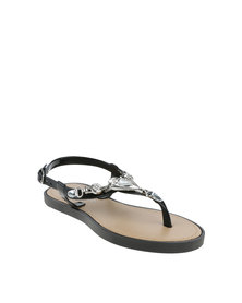 Rock n Co Emma Girls Flat Jelly Sandals Black