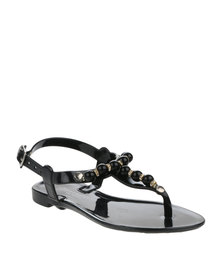Rock n Co Pearls Toddler Jelly Sandals Black