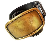 ROK Genuine Leather Belt and Brass Buckle Black