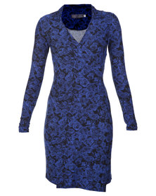 Roslyn Jacqueline Rose Wrap Dress Navy