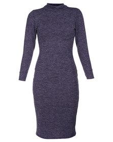 Roslyn Jaqueline Turtle Neck Dress Purple