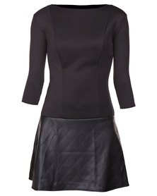 Roslyn Jacqueline Scuba Leatherette Dress Black