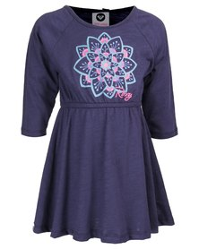 Roxy Girls Sunburst Mountain Long-Sleeve Dress Blue