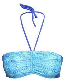 Roxy Bali Tide Bandeau Bikini Top Blue