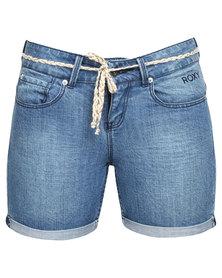 Roxy Cry Me A River Denim Shorts Indigo Blue