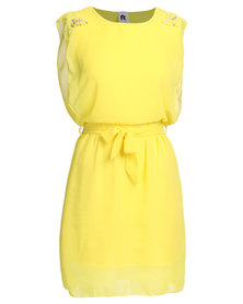 Royal T Elegant Beaded Shoulder Chiffon Dress Yellow