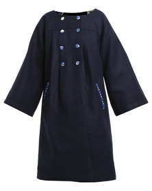 Rubicon Buttoned Jacket Navy Blue