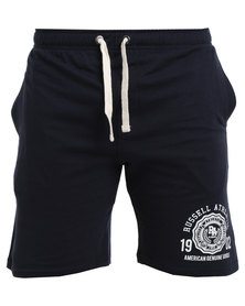 Russell Athletic Fleece Shorts With Graphic Print Navy