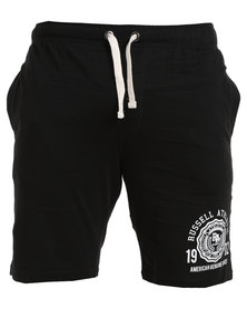 Russell Athletic Fleece Shorts With Graphic Print Black