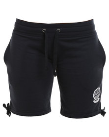 Russell Athletic Shorts With Leg Ties & Rosette Print Navy
