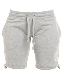 Russell Athletic Shorts With Leg Ties & Rosette Print Grey