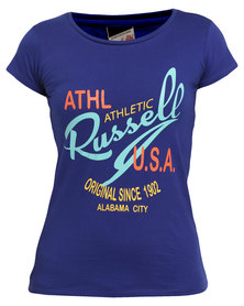 Russell Athletic Tee With Graphic Print Blue