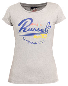 Russell Athletic Tee With Graphic Print Grey