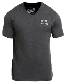 Russell Athletic V-Neck Logo Print Tee Charcoal