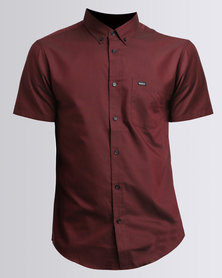 RVCA That'll Do Oxford Short Sleeve Maroon