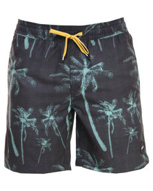 RVCA Hairy Palms Volley Shorts Black