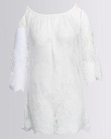 SALT Lace Kaftan Cover Up White