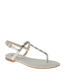 Sarah J Diamante T Bar Flat Sandals White