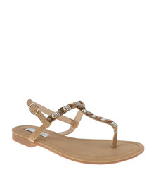 Sarah J  Diamante T Bar Flat Sandals Beige