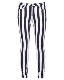 Sass Alexie Skinny Stripe Jeans Black and White
