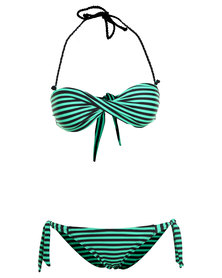 Scarlett Striped Bandeau Bikini Green