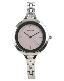 Sekonda Pink Dial Bracelet Strap Watch Silver-tone