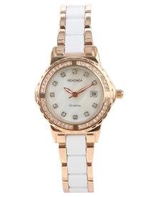 Sekonda Two Tone Crystal Dial Watch White/Rose Gold-tone