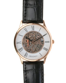 Sekonda Exposed Cogs Dial Watch Copper-tone/white