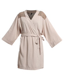 Serenade Lace Yoke Dressing Gown Taupe