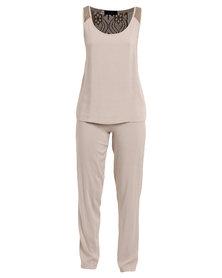 Serenade Shoulder Lace Detailed Sleepwear Set Taupe
