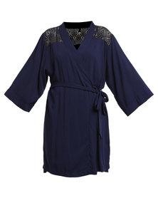 Serenade Lace Yoke Dressing Gown Blue